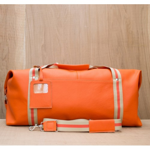 BAGAGE CUIR ORANGE | Grand Baroudeur