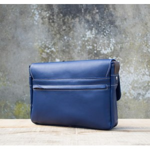 BESACE cuir bleu | chardonnay