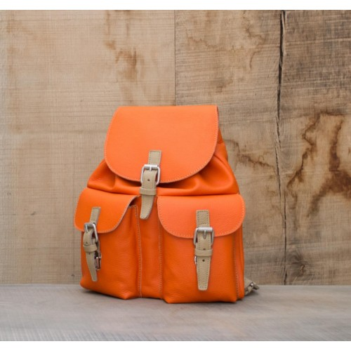 SAC A DOS CUIR ORANGE | Font-Romeu