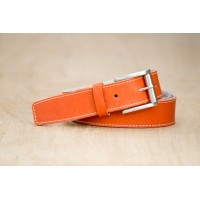 CEINTURE CUIR ORANGE| La french