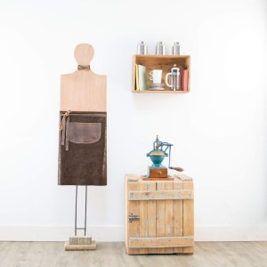 TABLIER CUIR CAFE|MARRON-FLEURI