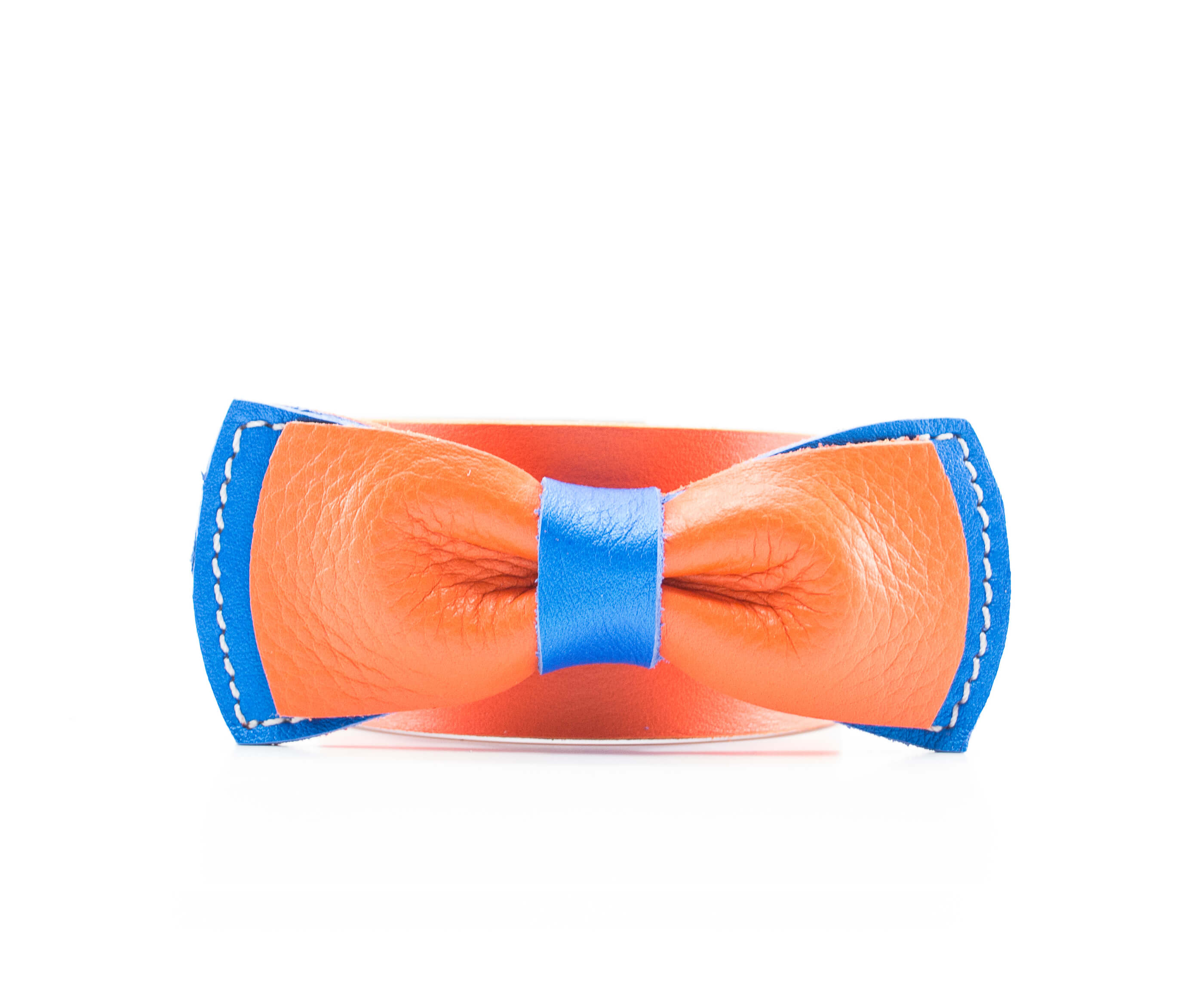 noeud papillon en cuir | orange & bleu