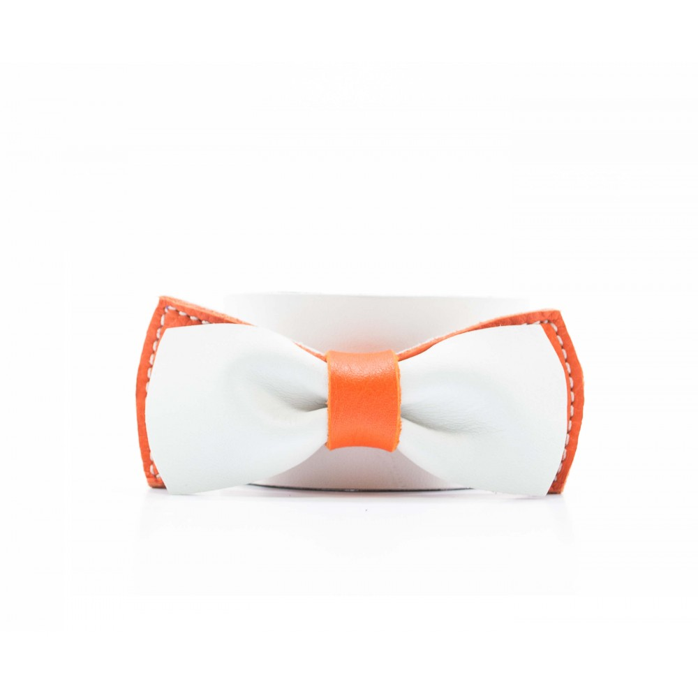 noeud papillon en cuir | blanc & orange